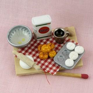 Baking set miniature Wood rolling pin cooking book, bowl