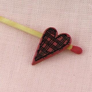 Boutons coeur écossais 2 cm