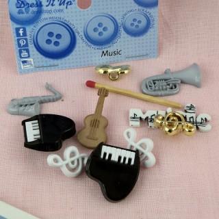 Botón de vestirlo música, instrumentos de orquesta.