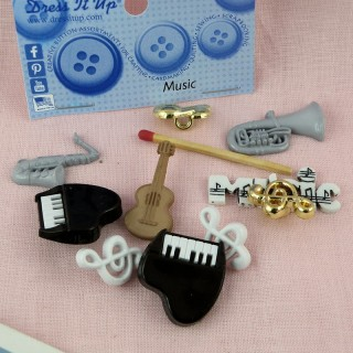 Buttons Dress it up, MUSICIAN, musical instruments.