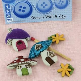 Buttons Dress it up mushroom house