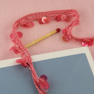 Cotton knitted braid with sequins 2 cms