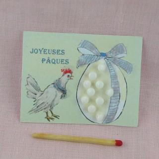 Carte rétro oeuf Pâques petits boutons à pied, 5 cm x 7 cm.