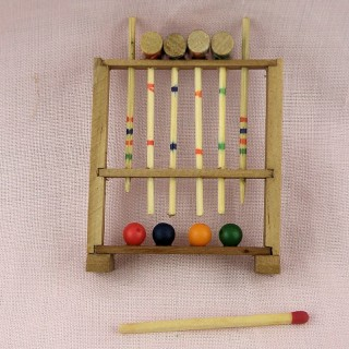 Wooden bowling set miniature vintage toy for doll miniature,