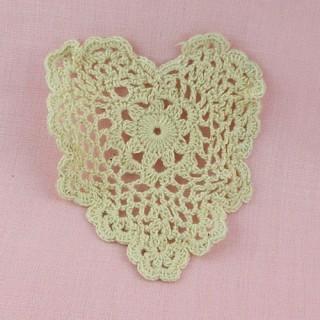 Coeur dentelle crochet 9 cm