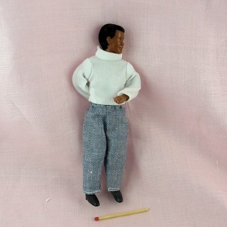 Miniature Black man father doll 1/12