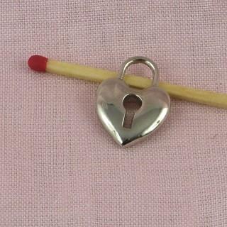 Cadenas coeur miniature, pendentif, breloque, poupée, 2 cm
