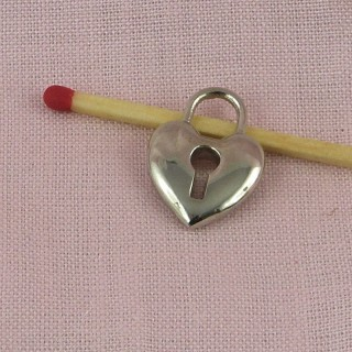 Heart padlockminiature, pendant,charm, doll jewel, 2 cm