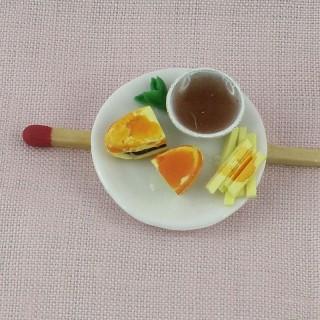 Assiette de sandwich frites miniature maison poupée,
