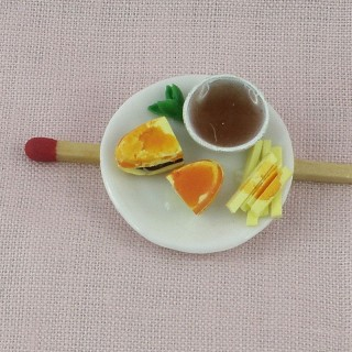 Sandwich fries plate dollhouse miniature, 3 cms.