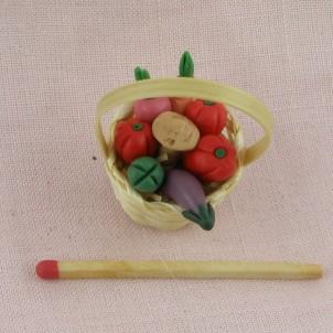 Panier légumes miniature maison poupée