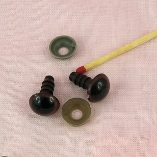 Brown Plastic eyes washer for bear and doll 14 mms