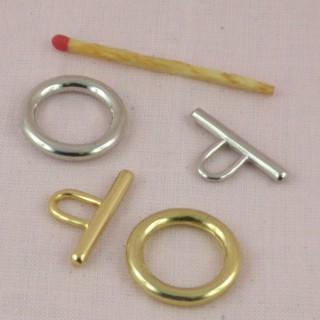 Closure round ring toggle claps two parts, 17 mms
