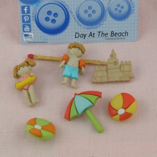 Bouton Dress it up, vacances, plage, ile, soleil, tropiques.