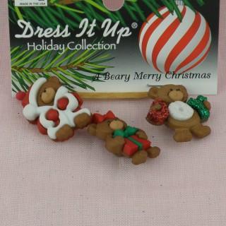 Boutons fantaisie oursons Noël nounours