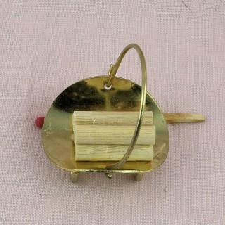 Brass basket with logs, miniature doll house