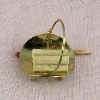 Cesta Puerta lenos para chimenea miniatura casa muñeca