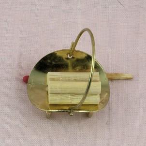 Panier Porte buches pour cheminée miniature maison poupée