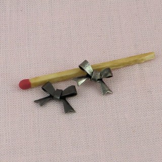 Metal bow decoration charms 14 mms.