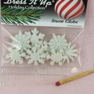 Buttons Dress it up,  glitter snowflakes buttons,