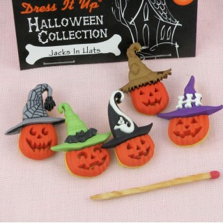 Buttons Dress it up, Halloween buttons Jacks in hat,