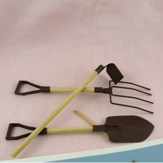 Garden miniatures accessories Set of three tools