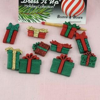 Botones de paquete de regalo de Navidad lo visten