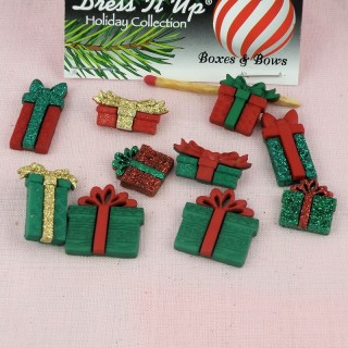Buttons Dress it up,Christmas boxes and bows,