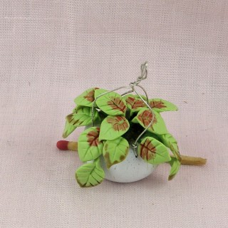 Miniature greenery handging basket for doll house
