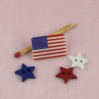 USA buttons, American flag, love New York