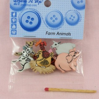 Boutons animaux ferme cochon poule mouton Dress it up,.