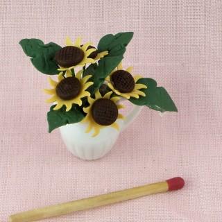 Bouquet tournesol miniature maison poupée