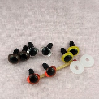 Plastic eyes, washable for bear or animal head, 12 mms