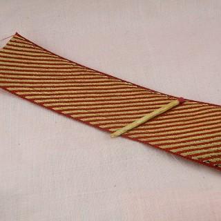 Ruban metallisé rouge et or 4 cm