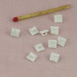 Tiny square shank plastic button 6 mms