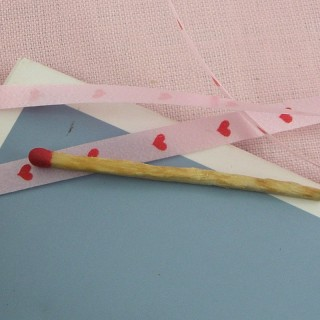 Hearts printed satin ribbon 5 mms