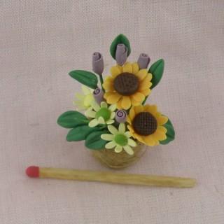 Bouquet fleurs miniature maison poupée