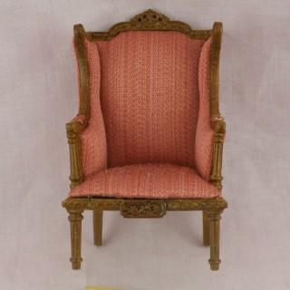 Lodi red stripe wing chair miniature furniture doll house furniture
