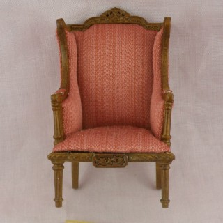 Lodi red stripe wing chair miniature furniture doll house furniture