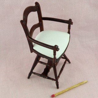 Victirian child's Barber chair dollhouse 9 cms