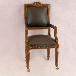 Chaise salon meuble miniature acajou salon maison de poupée