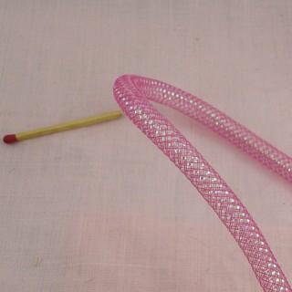 Fil, galon rond, cordelette, rouge et or, 2 mm.