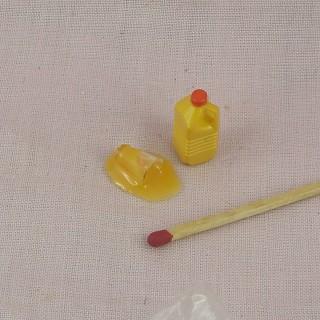 Bouteille Jus d'orange miniature maison poupée