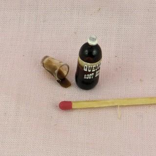 Bouteille bière et verre miniature maison poupée