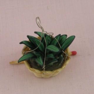 Suspension Plante verte miniature maison poupée 3 cm,