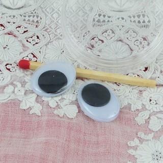 Ojos ovales riboulants para fabricación de animales en felpa 20 mm.