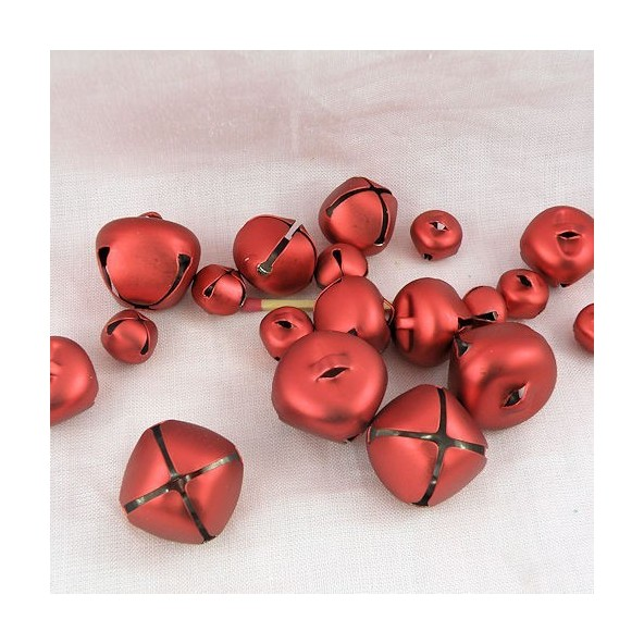 19 Grelots rouge brillant tailles assorties