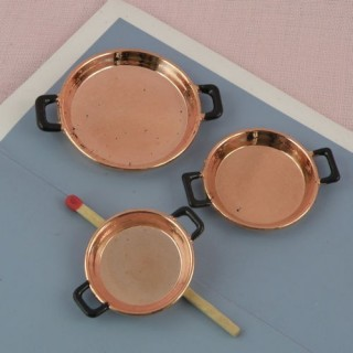 Set of three miniature doll house Copper pot, 2cms