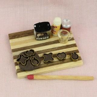 Gingerbread cookies dough set miniature, Wood rolling pin,