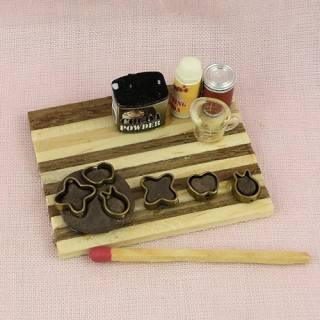 Gingerbread cookies dough set miniature, Wood rolling pin,